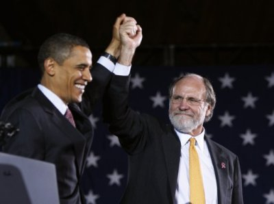Jon Corzine the former CEO of MF Global with his preferred candidate for President